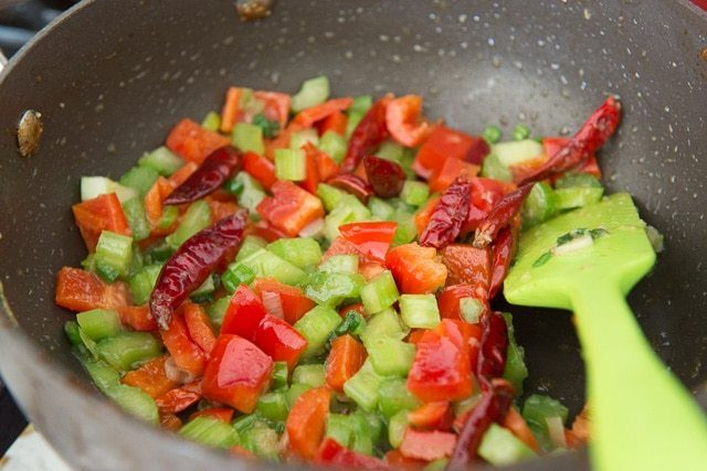 Chiles, Bell Pepper, Celery, and Scallions in Pan