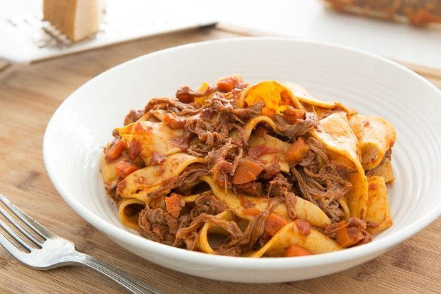 Easy and Lightened up Shredded Beef Ragu and Pappardelle