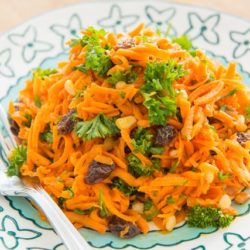 Carrot Raisin Salad On a Blue Plate with Fork
