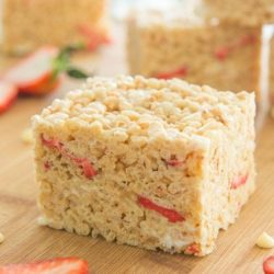 Strawberry Rice Krispie Treats Squares on Board
