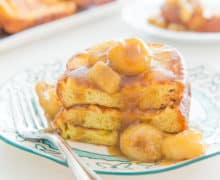 Bananas Foster French Toast is a comforting treat for brunch! Bananas Foster sauce takes the place of maple syrup for a sweet breakfast
