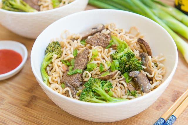 Korean ramen noodles with slices of top sirloin steak, broccoli florets, sliced baby bella mushrooms, and scallions in a white mikes bowl and blue chopsticks on the side