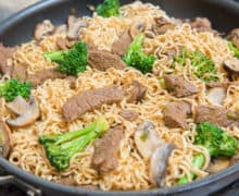 Beef Stir Fry with Noodles in Skillet with Broccoli