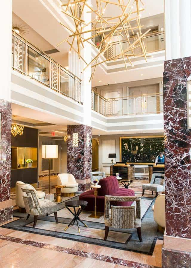 Beautiful Interior Design Of Hotel LeVeque In Columbus, Ohio for Hotel Lobby With Gold Bar Sculpture