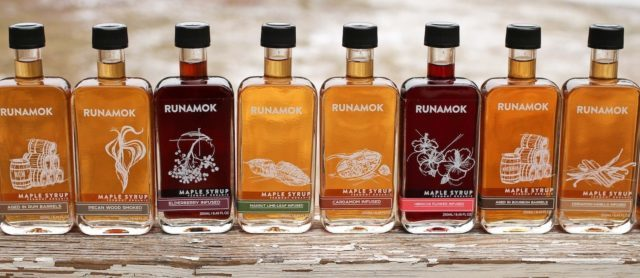Runamok Maple Syrups: Elderberry Infused, Cardamom Infused, And More On Distressed Wood Table