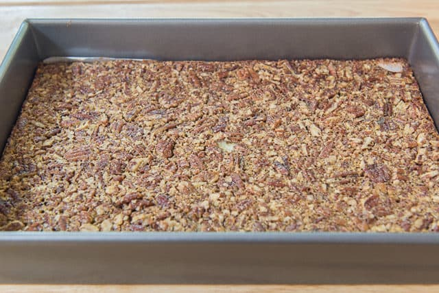 Baked Maple Pecan Bars Cooling In 9x13 Metal Pan
