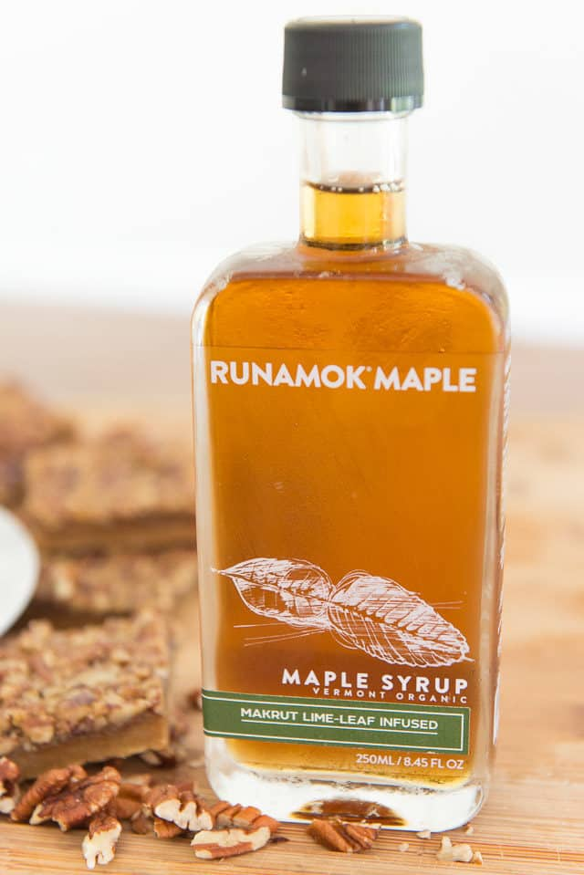 Bottle Of Runamok Maple Makrut Lime-Leaf Infused With Maple Pecan Bars