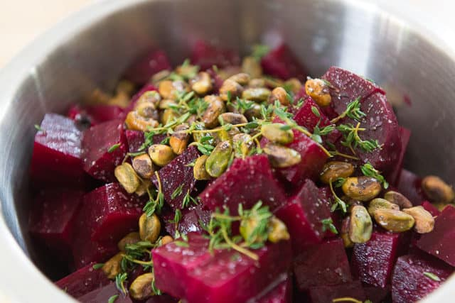 Whole 30 Roasted Red Beets with Fresh Thyme Leaves And Pistachios