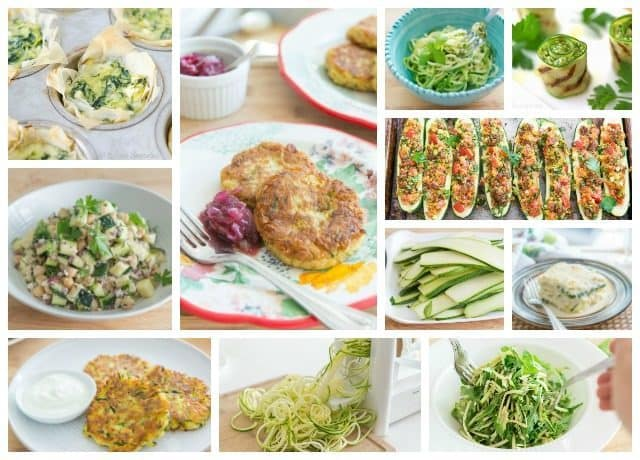 Photo Collage of Various Zucchini Recipes