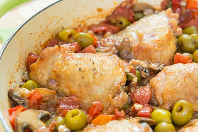 Chicken Caccitore - In Green Braiser Dish with Green Olives