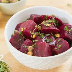 Lemon Thyme Roasted Beets With Pistachios In A Grid Pattern White West Elm Bowl