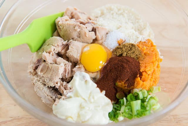 Canned Salmon, Egg, Mayonnaise, Sweet Potato, Scallions, and Spices in Mixing Bowl