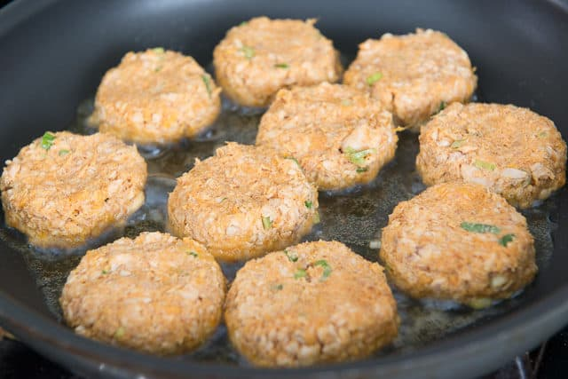 Frying Salmon Patties in Oil in Nonstick Skillet