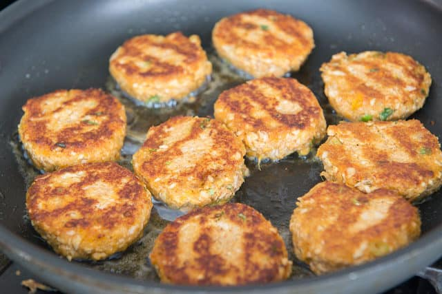 Frying Salmon Cakes in Oil in Nonstick Skillet