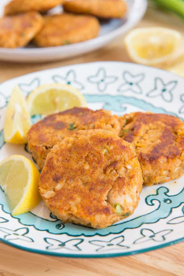 Salmon Cakes - On a Plate with Lemon Wedges