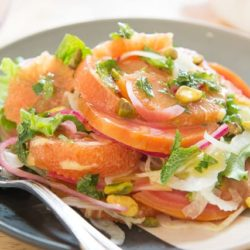 A Plate with Sliced Cara Cara Orange Segments, Chioggia Beets, Pickled Red Onions, Shaved Fennel Salad