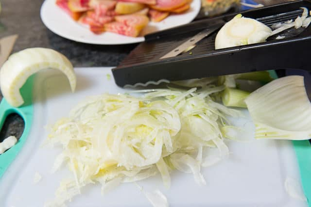 Thinly Shaved Fennel Bulb From Mandolin Slicer