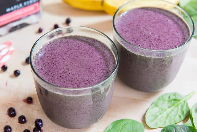 Blueberry Banana Smoothie - in Green Glasses with Wild Blueberries