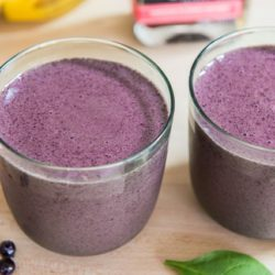 Blueberry Banana Smoothies - in Green Glasses with Wild Blueberries and Hibiscus Syrup