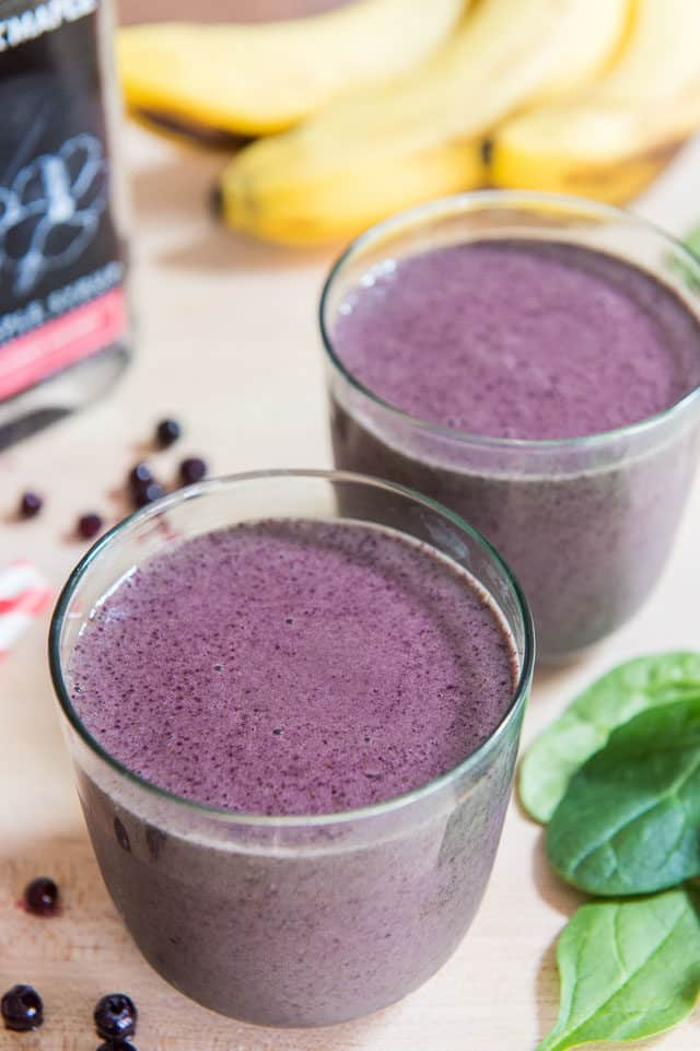 Blueberry Banana Smoothies - in Green Glasses with Wild Blueberries
