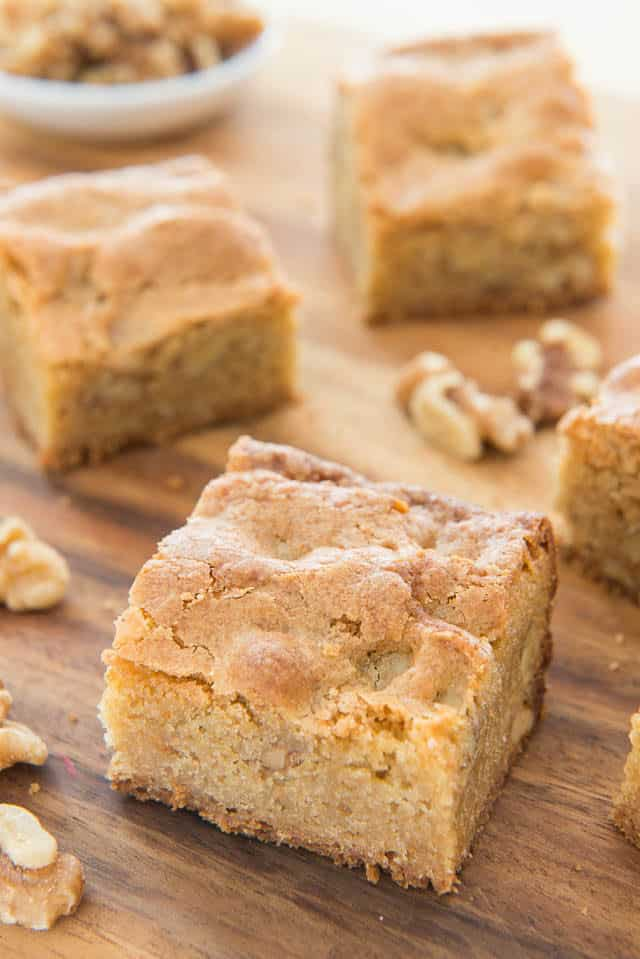 Brown Butter Blondies with Walnuts On Cutting Board - Perfect for bake sales and potlucks