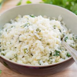 Cilantro Lime Cauliflower Rice In Bowl with Spoon
