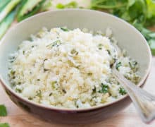 Jalapeno Cilantro Lime Cauliflower Rice With Garlic And Green Onion In Ceramic Bowl