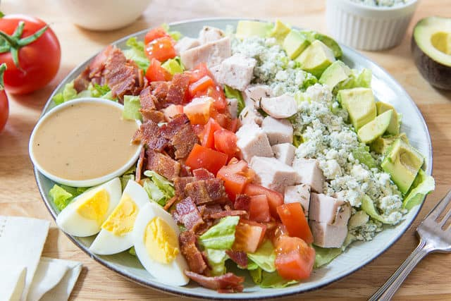 Cobb Salad Recipe - With Homemade Dressing and Salty Blue Cheese Crumbles