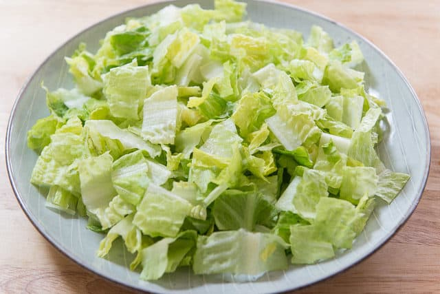 Chopped Romaine Lettuce Hearts on a Plate