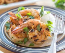 Grilled Chipotle Shrimp With Cilantro And Rice
