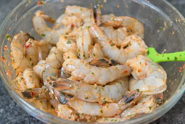 Shrimp Marinating in Bowl with Chipotle Marinade