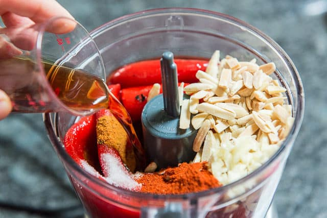 Roasted Red Peppers, Slivered Almonds, Minced Garlic, Smoked Paprika, Red Wine Vinegar, and More In Cuisinart Mini Food Processor