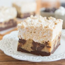 Trifecta Bake Sale Dessert Bars (Brownie + Chocolate Chip Cookie + Rice Krispies In One Bite) on Lacey Porcelain Dish