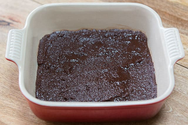 Coconut Oil Brownies Layer In Le Crueset Square Red Baking Dish
