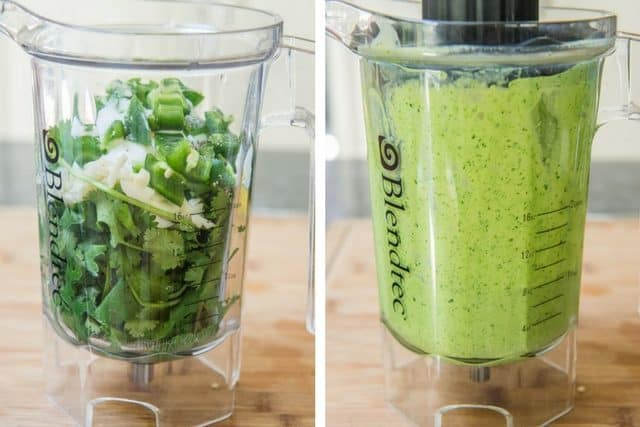Creamy Cilantro Lime Dressing Blended in Blender Jar