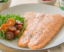 Baked Salmon Fillet - On Plate with Salt and Pepper