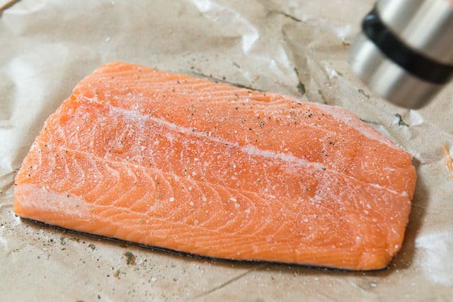 How to Bake Salmon - Seasoning a Fillet with Salt and Pepper