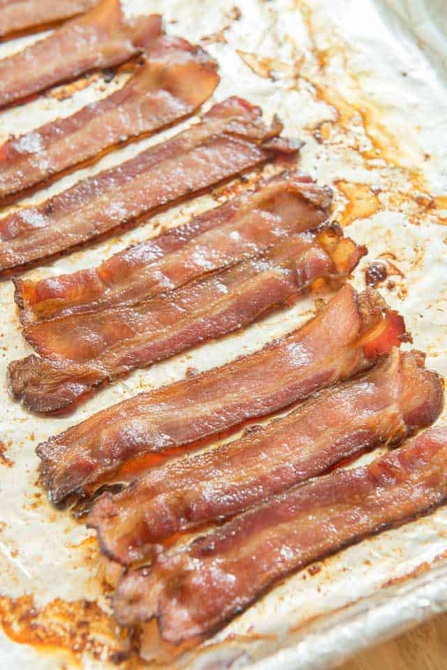 Oven Cooked Bacon Strips on Sheet Pan