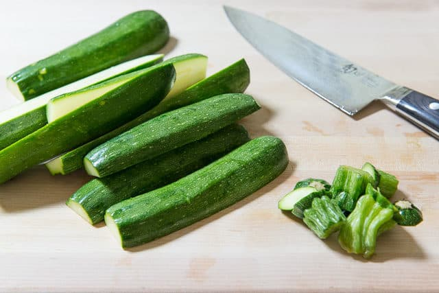 Zucchini Sticks on Cutting Board