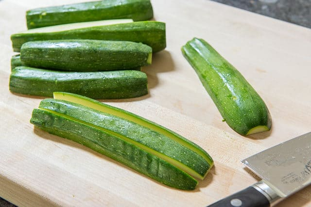 Zucchini Cut Lengthwise on Cutting Board