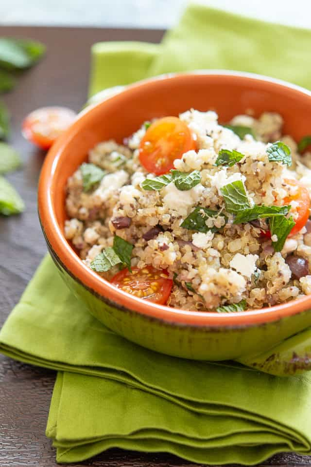 Mediterranean Quinoa Salad with Feta, Olives, and Mint