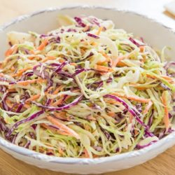 Coleslaw in White Bowl
