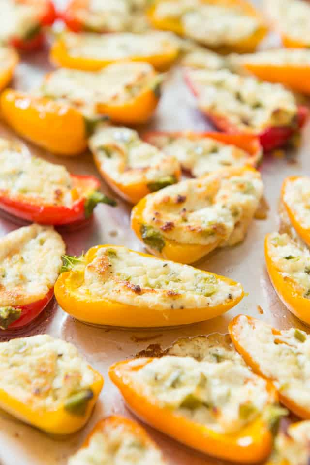 Stuffed Mini Peppers - delicious appetizer or party bite that can be roasted or grilled! #minipeppers #stuffedpeppers #appetizer #partyfood