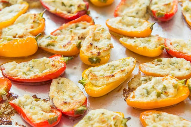 Goat Cheese Stuffed Peppers - On Tray with Mini Size
