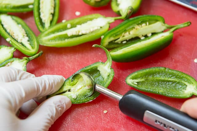 Removing Seeds of Jalapenos with a Melon baller