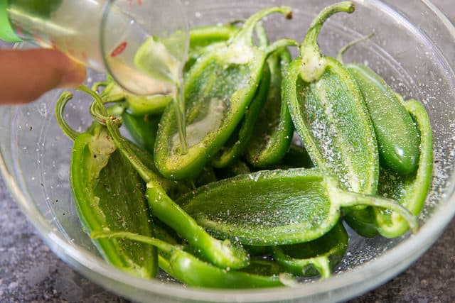 Seeded Jalapeno Halves with Oil Pouring On Top