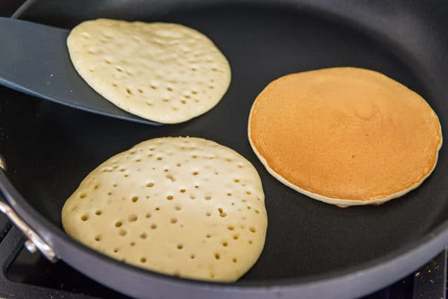 Flipping Partially Cooked Pancakes in a Nonstick Skillet