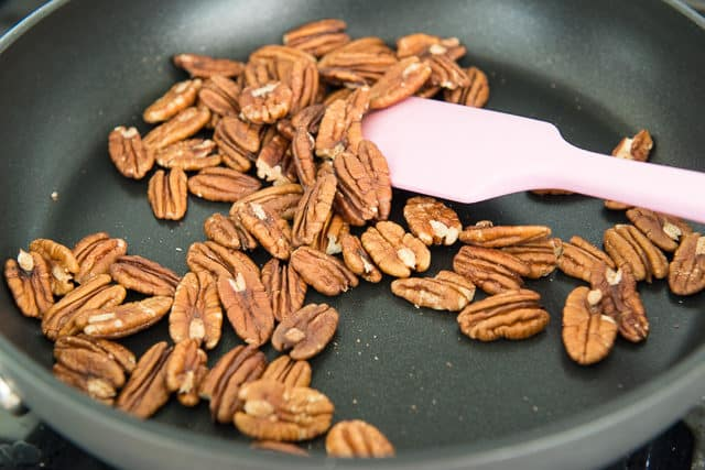 Toasted Pecans in a Nonstick Skillet