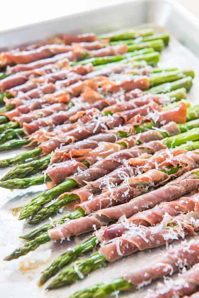 Prosciutto Wrapped Asparagus - On a Sheet Pan with Grated Parmesan On Top