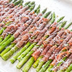 Prosciutto Wrapped Asparagus On a Sheet Pan with Grated Parmesan On Top